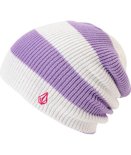 Volcom VIP White & Purple Stripe Reversible Beanie