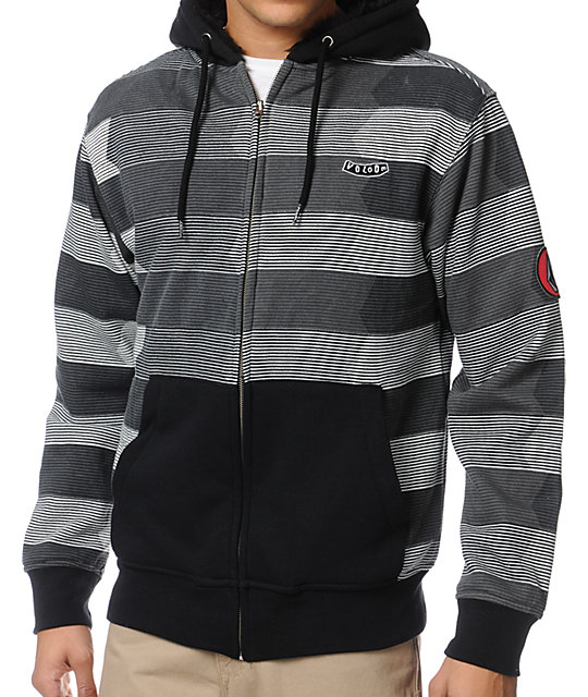 Volcom Vinced Black Fur Lined Zip Up Hoodie At Zumiez Pdp