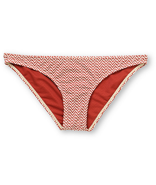 Volcom Vintage Find Red Stripe Bikini Bottom