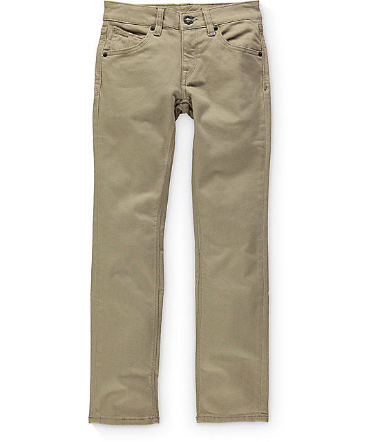 Volcom Vorta Boys Twill Beige Slim Straight Fit Jeans