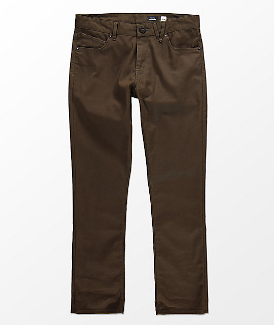 Volcom Vorta Five Pocket Slub Brown Pants