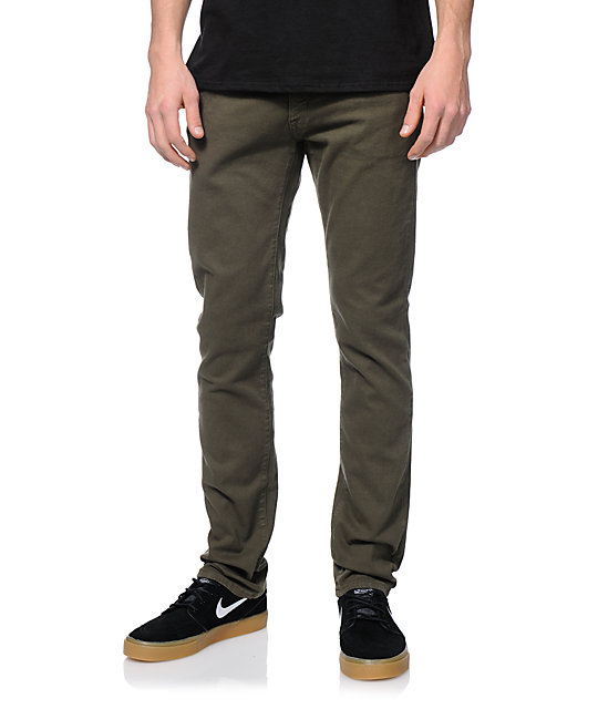 Volcom Vorta S Gene Stretch Military Olive Green Slim Fit Jeans