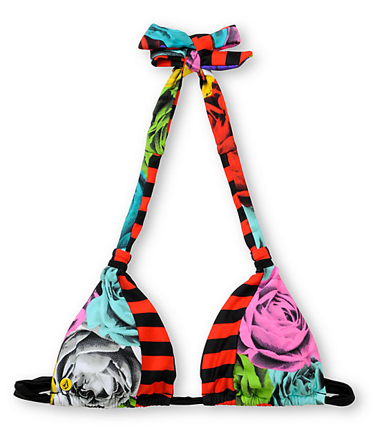 Volcom Waroses Halter Floral Print Bikini Top