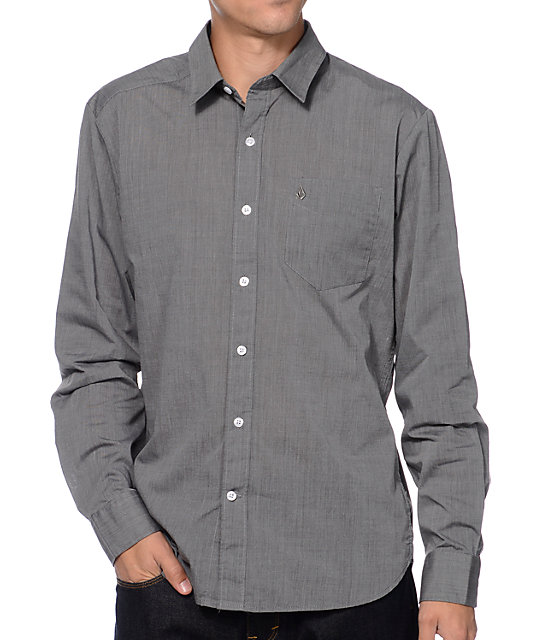 Volcom why factor eoe long sleeve charcoal button up shirt for Cool long sleeve button up shirts