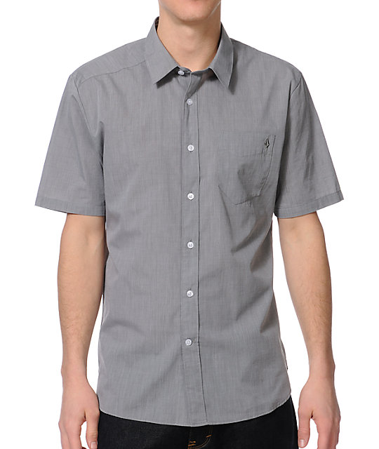 Volcom Why Factor End Charcoal Short Sleeve Button Up Shirt