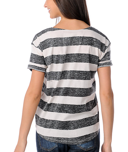 Volcom Wingnall Black & White Stripe Tough T-Shirt