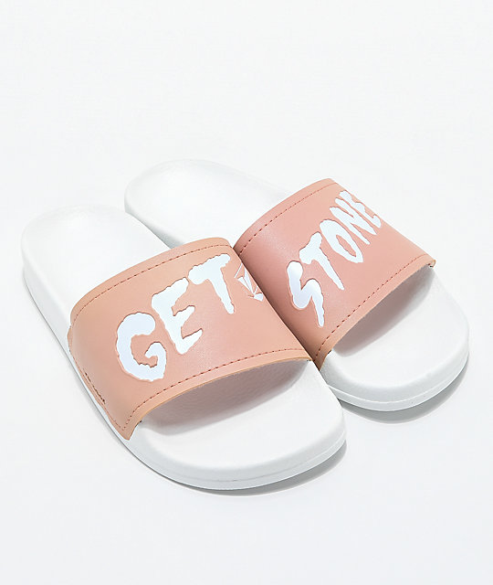 Volcom Womens Get Stoned White Slide Sandals