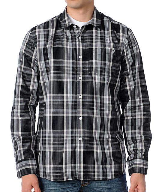 Volcom X-Factor Black Plaid Long Sleeve Woven Shirt