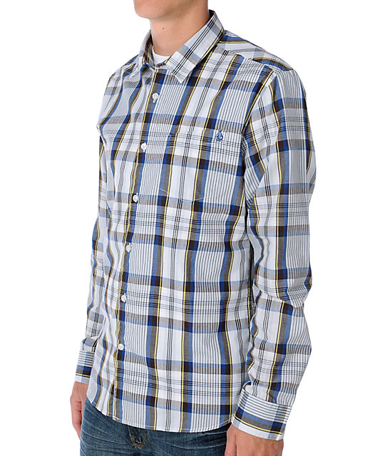 Volcom X-Factor Blue Long Sleeve Woven Shirt