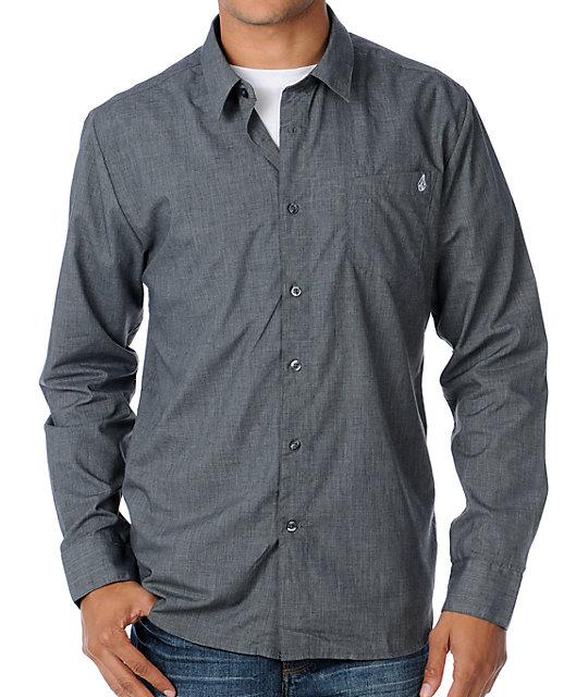 Volcom X-Factor Heather Grey Woven Long Sleeve Shirt
