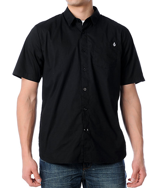 Volcom X-Factor Soild Black Woven Shirt