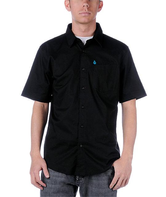 Volcom XYZ Black Solid Short Sleeve Woven Shirt