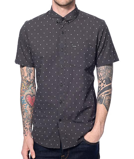 Zeller Black Print Button Up Shirt