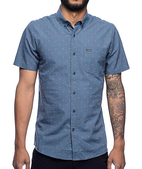Volcom Zeller Blue Print Button Up Shirt