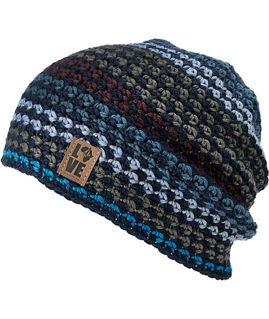 Volcom x Krochet Kids Blue Crochet Beanie