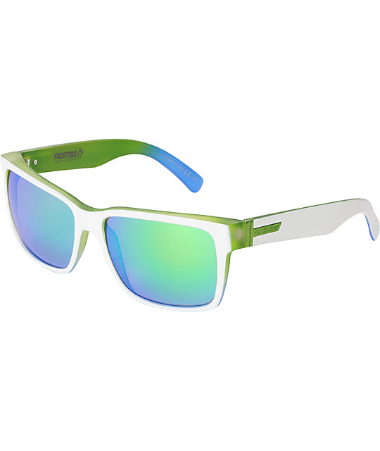 Von Zipper Elmore Frosteez White, Lime & Blue Quasar Chrome Sunglasses