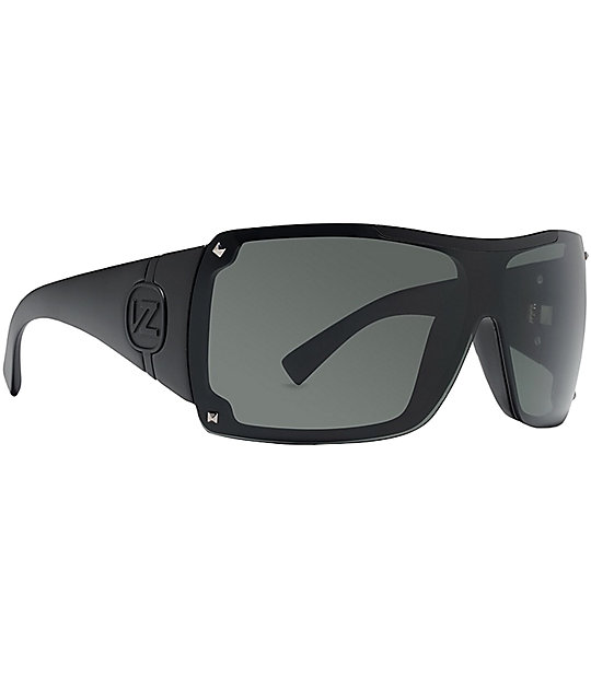 Von Zipper Gamma Black Satin & Grey Sunglasses