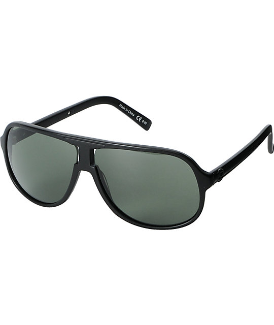 Von Zipper Hoss Black Satin & Grey Sunglasses