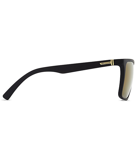 Von Zipper Lesmore Black Satin & Gold Polarized Sunglasses