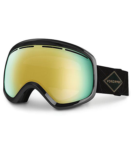Von Zipper Skylab Black Gloss & Gold Chrome Snowboard Goggles