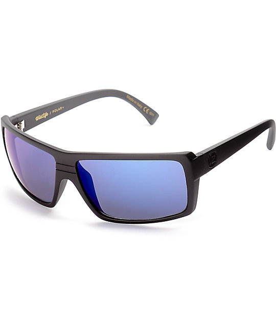 Von Zipper Snark Black Satin & Blue Polarized Sunglasses