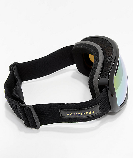 VonZipper Skylab Black Satin Gold Chrome Snowboard Goggles