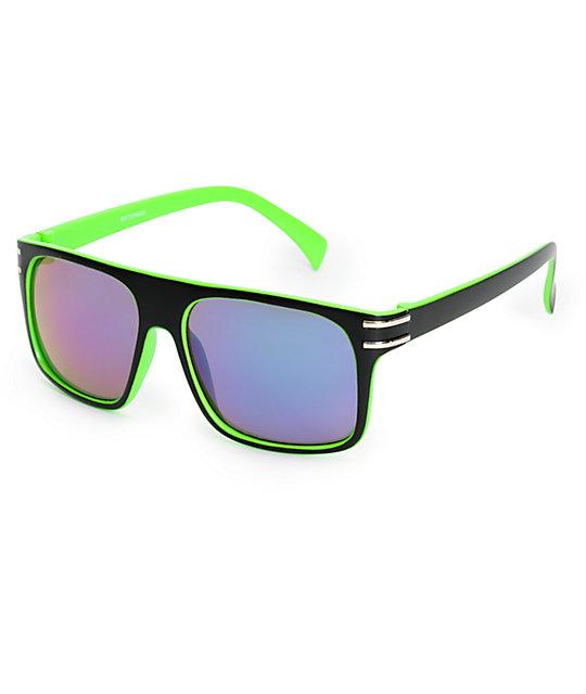 Watermark Black & Green Flat Top Sunglasses
