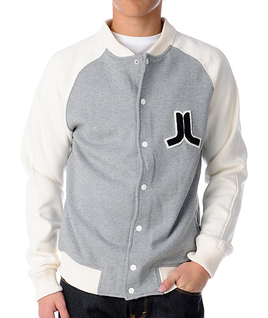WeSC Balker Grey & White Fleece Varsity Jacket