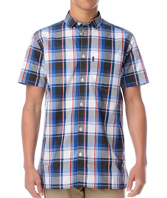 WeSC Flynn Red, White & Blue Plaid Button Up Shirt