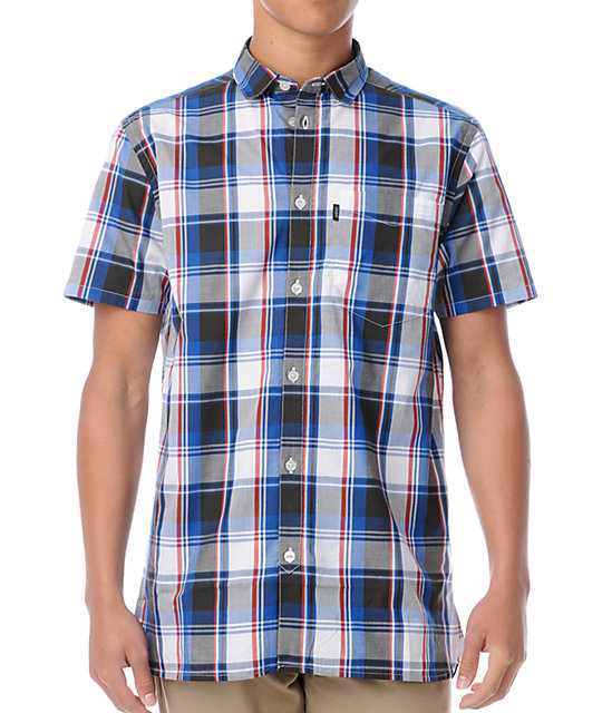 Wesc flynn red white blue plaid button up shirt at for Red white and blue plaid shirt