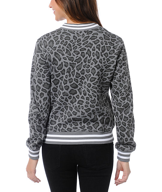 WeSC Lakai Grey Leopard Print Fleece Varsity Jacket