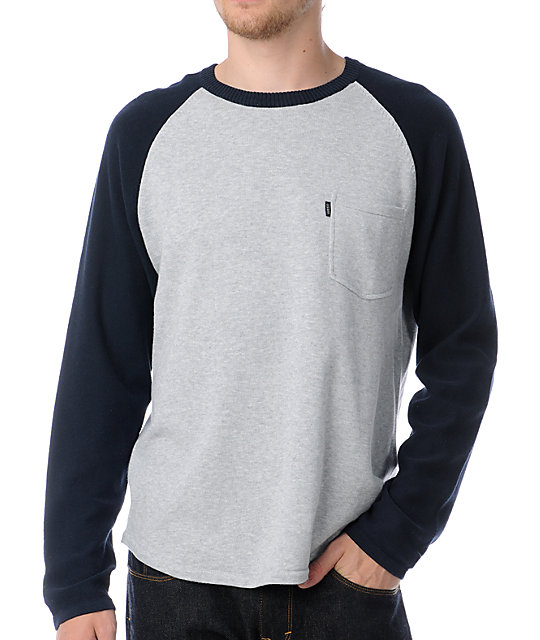 WeSC Moe Grey & Navy Crew Neck Sweater