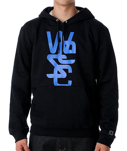 WeSC Overlay Black & Blue Pullover Hoodie