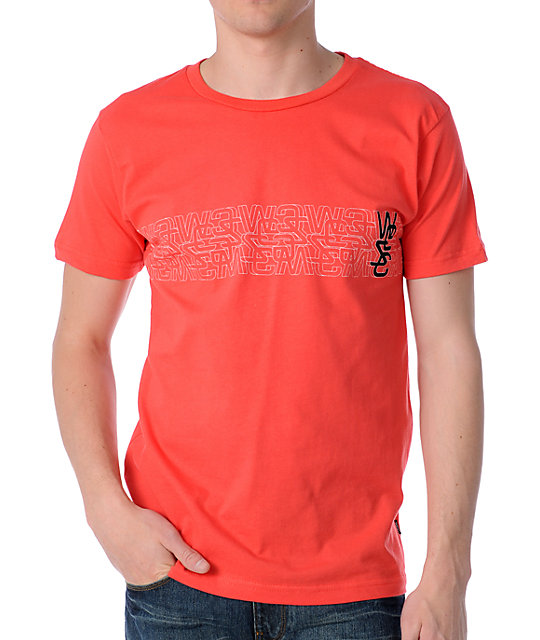 WeSC Overlay Striped Red T-Shirt