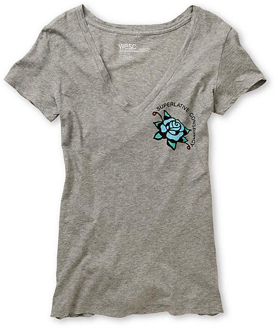 WeSC SC Rose Grey V-Neck T-Shirt