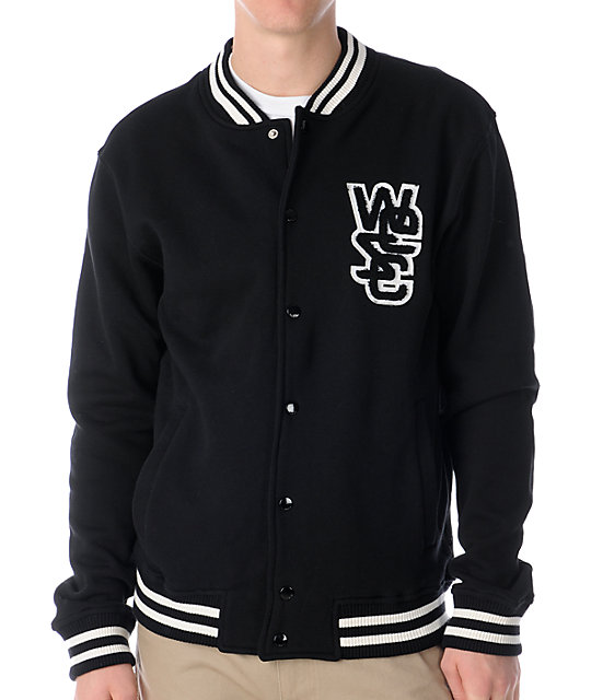 WeSC Warren Black Fleece Varsity Jacket