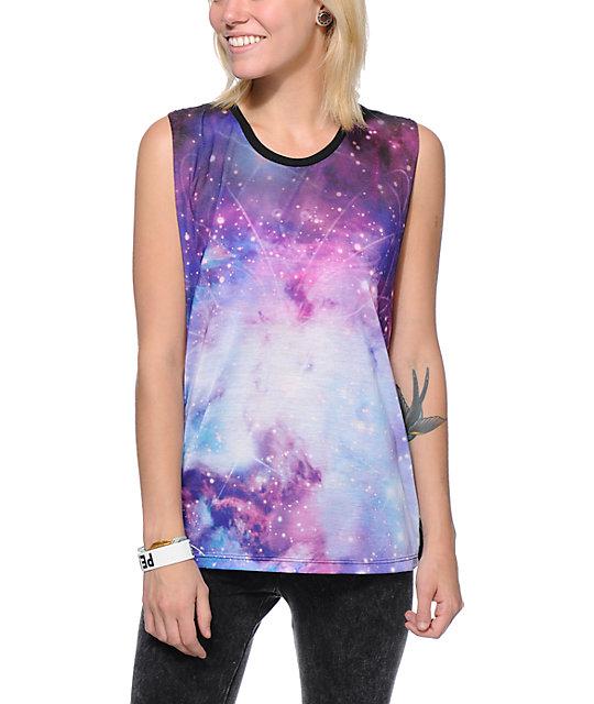 Wenanami Cosmic Shiva Purple & Black Muscle Tank Top