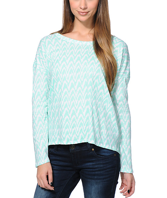 Wenanami Mint & White Ikat Print Split Back Top