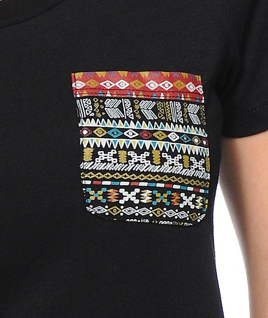 Wenanami Tribal Pocket Black Scoop Neck T-Shirt