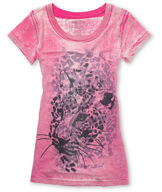 Word Of Mouth Cheetah Pink Burnout T-Shirt