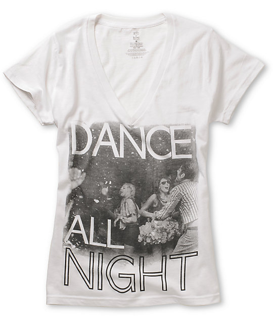 Word Of Mouth Dance All Night White V-Neck T-Shirt