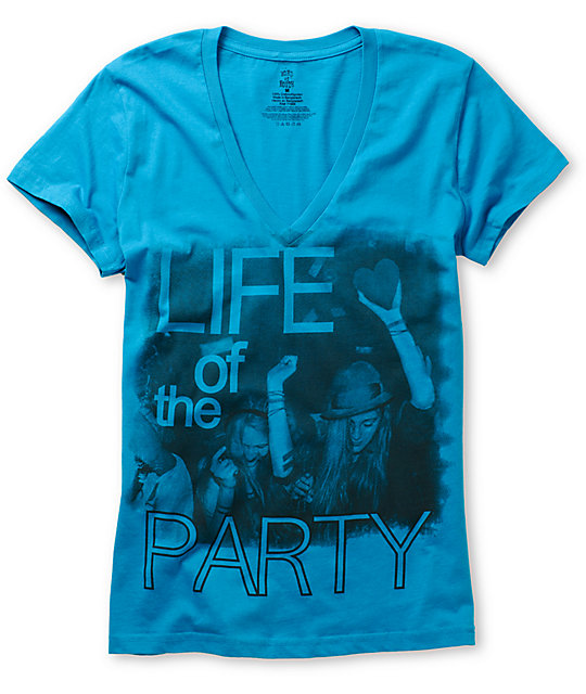 Word Of Mouth Life Of The Party Blue V-Neck T-Shirt