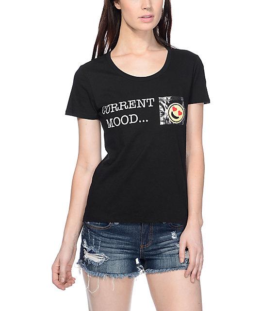 Workshop Current Mood Emoji Black T-Shirt