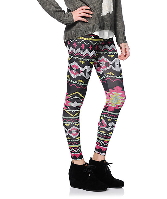 Workshop Fairisle Print Black Leggings