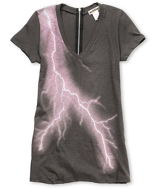 Workshop Lightning Bolt 2 Charcoal Zipper-Back T-Shirt