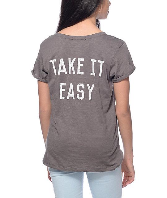 Workshop Take It Easy Charcoal Cuffed T-Shirt