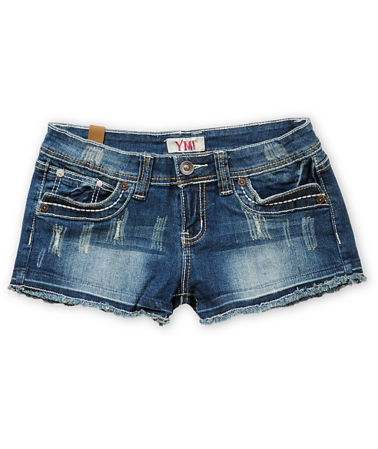YMI Bree 2.5 Denim Cut Off Shorts