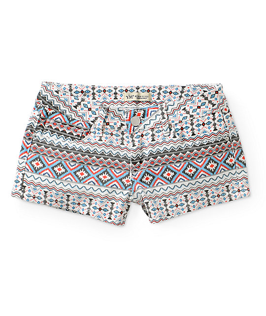 YMI Multi Tribal Denim Shorts