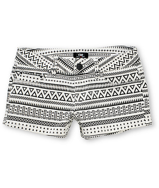 Riley White & Black Tribal Print Denim Shorts