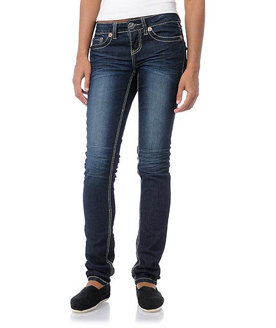 YMI Scarlet Tinted Blue Skinny Jeans
